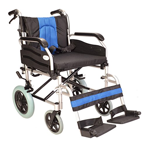 Lightweight Aluminium folding transit wheelchair with 20-inch extra wide seat ECTR02-20