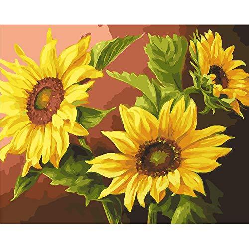 Zonnebloem Zaad Gele Bloem DIY Schilderen door Getallen Moderne Muur Kunst Canvas Schilderen Unieke Gift Home Decor 40X50Cm Frameloze 40x50cm