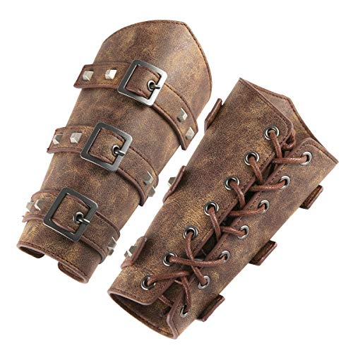 HZMAN Adults Faux Leather Arm Guards - Medieval Belt Leather Buckle Bracers - One Size - Leather Armband Pair (Brown)