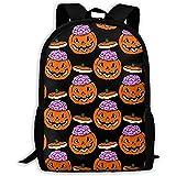 School Backpack Pumpkin Zombie Emoji Bookbag Casual Travel Bag For Teen Boys Girls