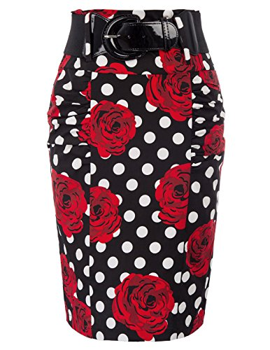 Elastic Waist Bodycon Midi Pencil Skirt with Chunky Buckle Belt XL, Floral-9