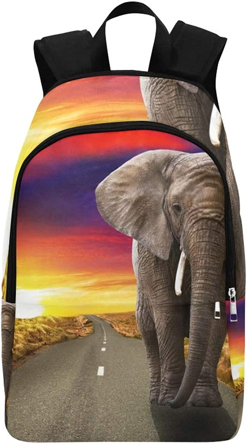 Elephant Walking On Road Sunset Casual Daypack Travel Bag College School Backpack for Mens and Women
