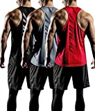 ATHLIO Men's Dry Fit Muscle Workout Tank Tops, Y-Back Bodybuilding Gym Shirts, Athletic Fitness Tank Top, Mesh 3pack(ctn03) - Black/Grey/Red, Large