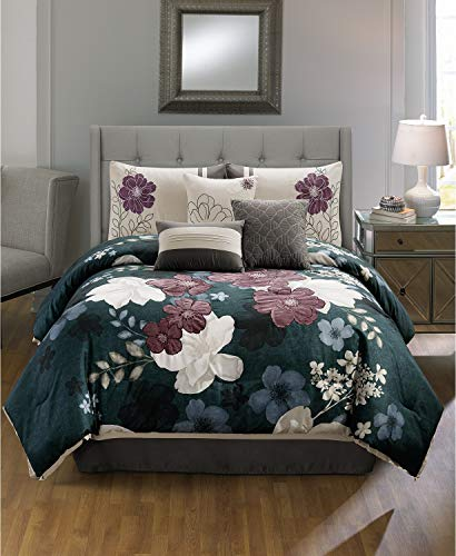 Hallmart Collectibles Sofina 7 Piece Floral King Comforter Set Teal