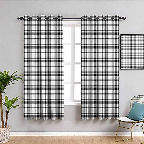 Just Contempo - Tende per camera da letto, stile vintage, motivo tartan britannico, a scacchi, stile minimalista, facile da pulire, colore: nero e bianco