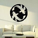 Carpa koi etiqueta de la pared pareja peces acuario ventana vinilo pegatina niños dormitorio baño decoración del hogar papel tapiz de arte 74X74 cm