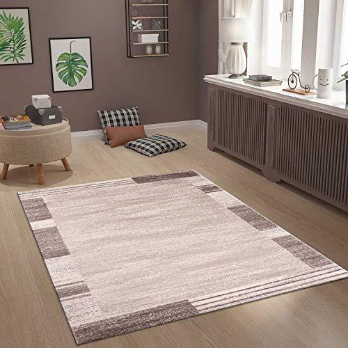 VIMODA Moderner Wohnzimmer Schlafzimmer Teppich Muster Abstrakt Braun Borduere Rand, Maße:160x230 cm