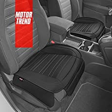 Motor Trend Black Faux Leather Seat Covers for Front Seats, 2-Pack – Universal Padded Car Seat Cushions with Storage Pockets, Premium Seat Cushion for Truck Auto Van SUV