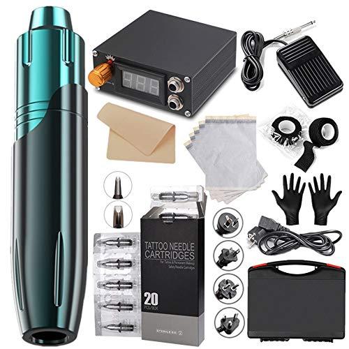 TTLIFE Kit de máquina rotativa para rotulador de tatuaje, el más nuevo rotulador para tatuaje, motor potente de alta velocidad, cartuchos de 20 agujas y el conjunto de accesorios más completo (azul)