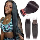 ALLRUN Brazilian Virgin Hair 3 Bundles with Closure (18 20 22+16closure) Middle Part Straight Human Hair 100% Unprocessed Virgin Hair Bundles With Middle Part Lace Closure Natural Black Color