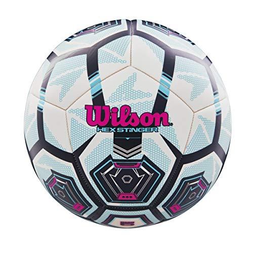 Wilson Hex Stinger Soccer Ball, White & Turquoise