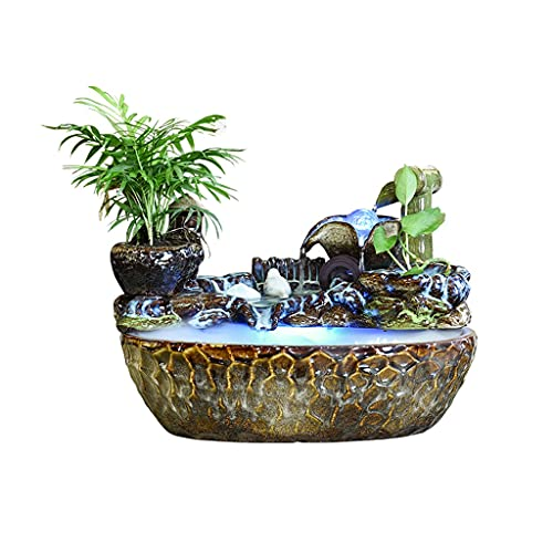 SFF Indoor Fountain Indoor Fountain Tabletop Water Fountains Waterfalls Decorations with Atomizing Humidifier for Bedroom Office Home Desk Decor