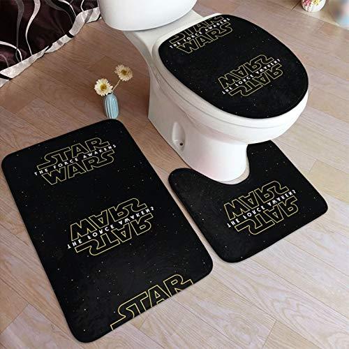 St-Ar Wa-Rs R-Ebel A-Lliance - Juego de alfombrillas de baño y pedestal, antideslizantes, absorbentes de agua, poliéster, para baño, bañera, ducha, inodoro, lavable a máquina, 3 piezas