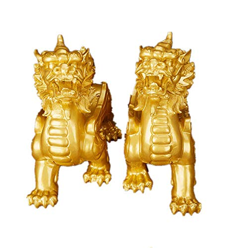 JYKFJ Feng Shui Resin Single Corner Pixiu Pi Yao Statue Figure Home Office Decoration Symbol for Wealth (Bronzo)
