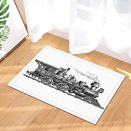 ottbrn Vintage Sketch Retro Steam Tog Vloermat, antislip, voor ingang, ingang, deur, vooraan, kinderen, badmat 15,7 x 23,6 cm, badkameraccessoires