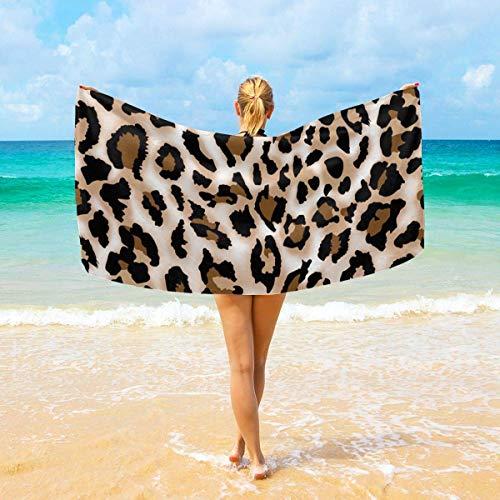 Toallas de baño premium Paños de lavado para el hogar, hotel, spa, gimnasio de piscina - Toallas estampadas con estampado de leopardo, Toalla de baño de ducha suave y absorbente Envoltura de gran tama