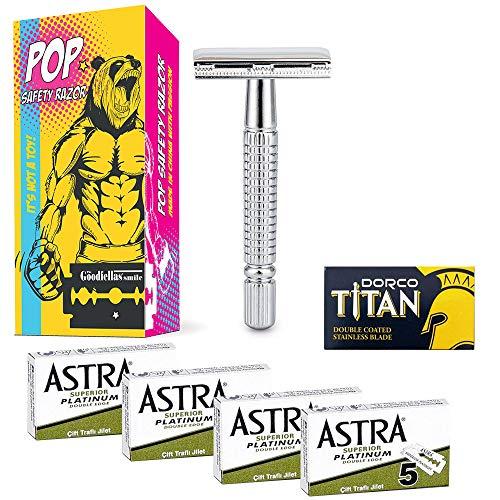 Set Rasoio di sicurezza POP con 21 Lamette da barba (20 Lamette Astra Verdi + 1 Titan)