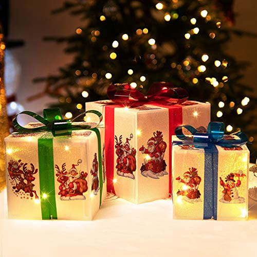 Rocinha Christmas Lighted Gift Boxes Decorations with Cute Images(Santa Claus Reindeer Snowman), Red Green and Blue Bow LED Present Boxes White Gift Boxes for Holiday Home Christmas Decor, Set of 3