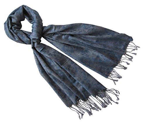 Nella-Mode Nella-Mode Edler & Eleganter Schal, Stola; - Florales Muster; - Farbe: Jeansblau-Silbergrau