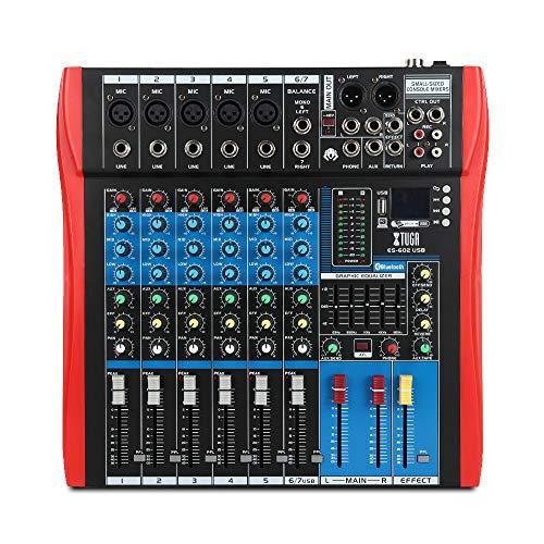 XTUGA Professional Audio Mixer Sound Board Console ES602 USB/MP3/Bluetooth Stage...