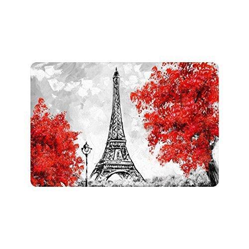 Torre Eiffel de París Francia Alfombra de Entrada Rectangular Alfombra de Entrada Antideslizante para Baño de Cocina 15.7×23.5 Pulgadas