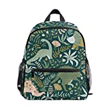 Cute Toddler Backpack Dinosaur and Tropical Leaves Mini Travel Bag for Baby Girl Boy Age 3-7