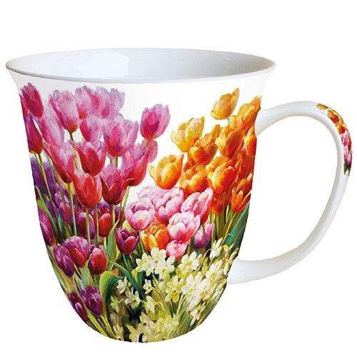 Ambiente Becher Mug Tasse Tee / Kaffee Becher ca. 0,4L Floral Tulpen Tulips