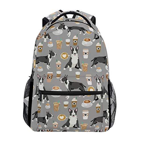 School Bag Bull Terrier Dog School Unique Stylish Lightweight Student College Shoulder Bag Casual Backpack Durable Gift Travel Bookbag Printed