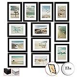 bomoe 12er Set Bilderrahmen Ocean Bilder-Collagen Fotorahmen aus Holz