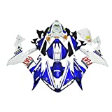 ADMOTO Kit completo de carenado de cubierta de plástico ABS para motocicleta de inyección preperforada para Yamaha YZF-R1 2004 2005 2006 (azul+blanco)