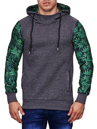 Cabin Collection Kapuzen Pullover Herren Sweater Weed Cannabis Hanfblatt,Grš§e S, dunkelgrau-grŸn