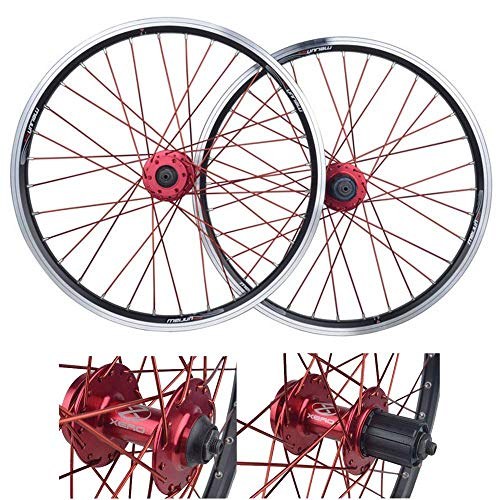 QWE Mountain Bike Bicycle Wheelset, 20 Inch Double Walled Aluminum Alloy MTB Cassette Hub V-Brake Wheel Rims (Front + Rear) Fast Release 32 Hole Disc 7/8/9/10 Speed