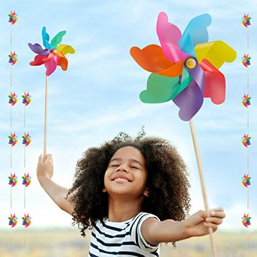 Relaxdays Juego de 18 Molinillos de Viento Arcoíris para Jardín, Terraza y Niños, Polipropileno y Madera, Multicolor
