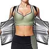Women Sauna Sweat Vest Hot Polymer Waist Trainer Sauna Suit Slimming Workout Body Shaper Corset for Women (Silver-Zipper, 3X-Large)