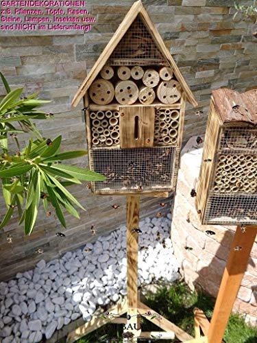 1x XL insektenhotel, Bienenhaus Spitzdach Klassik mit Standfuß UND TRÄNKE insektenhotel Holz Nistkasten GEFLAMMT-schwarz-, Natur-HOLZFARBEN