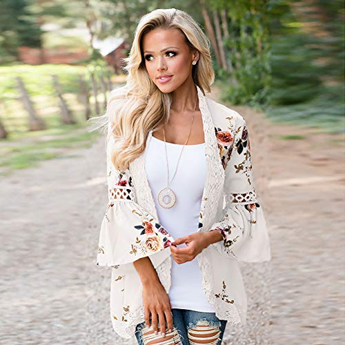 YYH Dames-cardigan blouse tops bloemendruk -Kimono cardigans kant zoom los vervagen Large wit