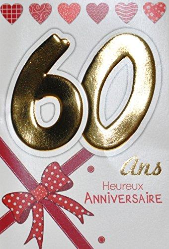 Age Mv 69-2038 Carte Anniversaire 60 ans Femme motif Nœud Ruban Cadeau Cœurs