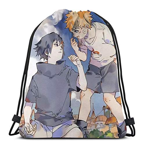 Anime NARUTO Haruno Sakura - Bolsa de gimnasio con cordón, mochila a granel, bolsa de deporte para escuela, gimnasio, viajes, niño y niña, 14.2 x 16.9 pulgadas