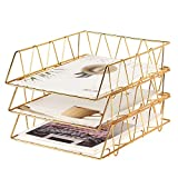 YUKOOL 3-Pack Stackable Letter Tray Metal Desktop File Organizer Paper Holder Rack for Mails, Magazines, Documents and Accessories, Wire Paper Tray, Gold