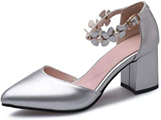 BalaMasa Womens ASL06327 Pu Block Heels