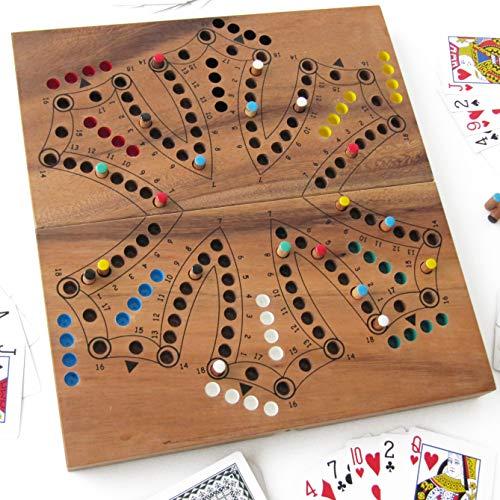 TOC Spiel oder TOCK, 2-6 Spieler, Brettspiel aus umweltfreundlich Massivholz entspricht den CE Normen. Marke Le Délirant. Einfache Aufbewahrung zum Mitnehmen oder auf Reisen. Kleine kanadische Pferde.