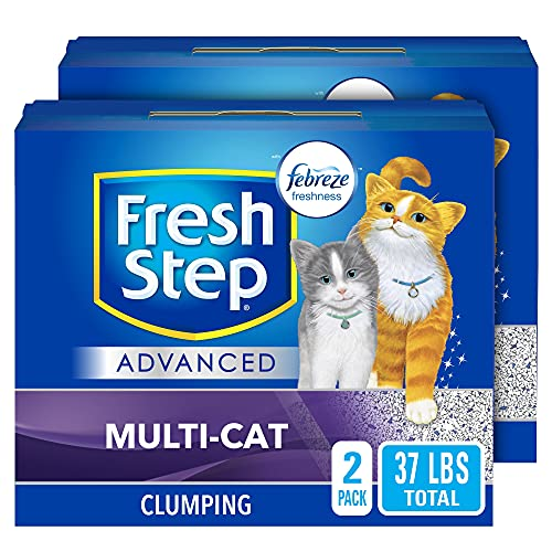 Fresh Step Advanced Multi-Cat Clumping Cat Litter with Odor Control - 18.5 lb (Pack of 2) (Package May Vary)