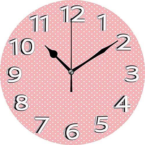 AZHOULIULIU Co.,ltd Diseño de Lunares Rosas con Dulce y Bonita composición Retro y repetitiva Reloj silencioso Rosa pálido y Blanco