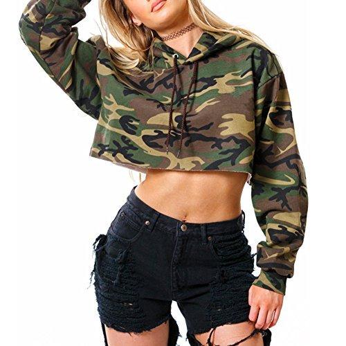 Lurdarin Womens Polyester Hooded Camouflage Sweatshirt Pullover Long Sleeve Crop Top Hoodie