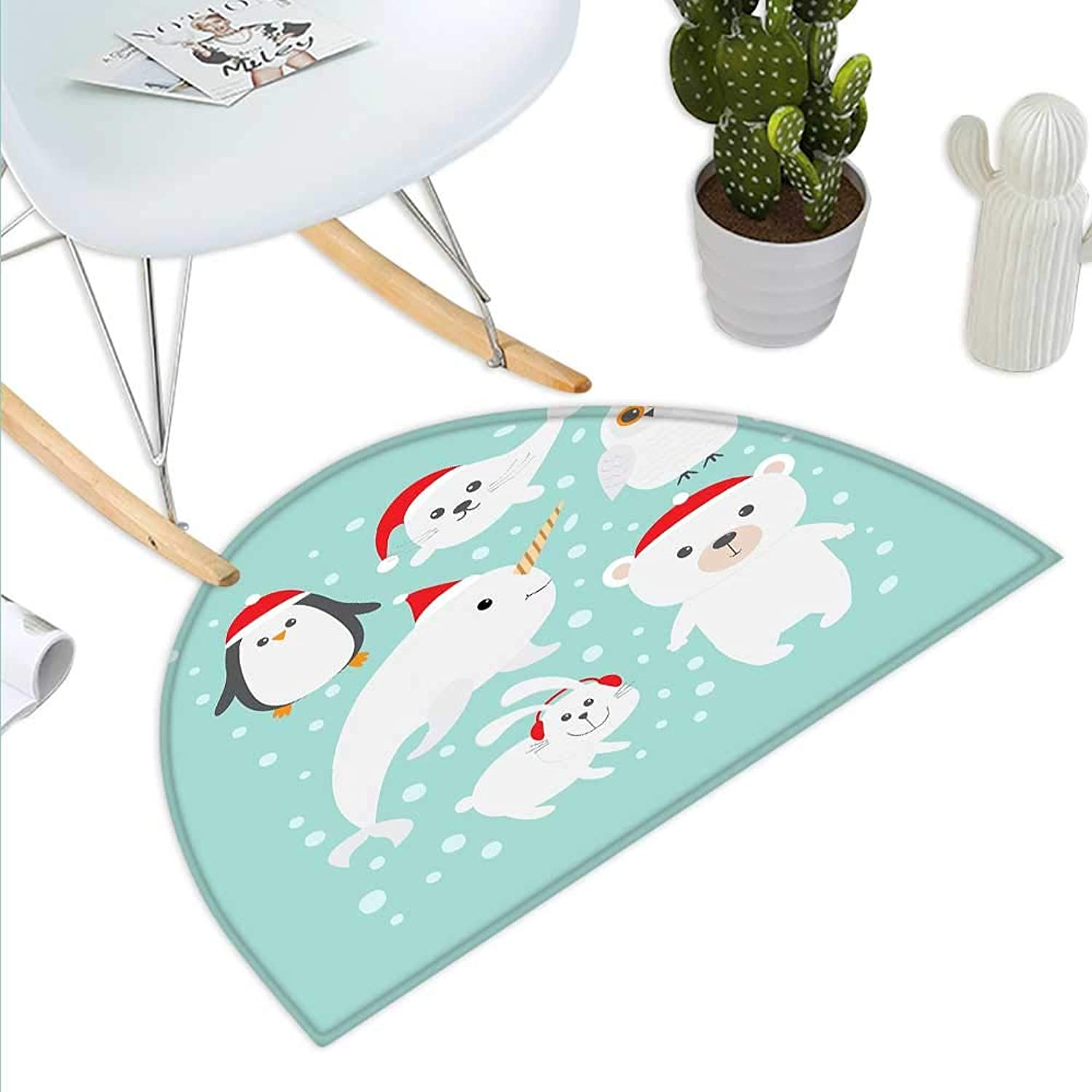 Narwhal Semicircle Doormat Poles of The Earth Fauna Sketch with Abstract Snow Patterned Background Halfmoon doormats H 43.3  xD 64.9  Turquoise Red White