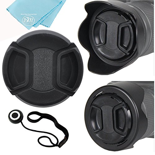 58mm Reversible Lens Hood + Lens Cap for Canon 18-55mm is II, 18-250mm, 55-200mm, 55-250mm, 70-300mm f/4.5-5.6, 75-300mm, EF 24mm f/2.8, 28mm f/2.8, 50mm f/1.4, 85mm f/1.8, 65mm f/2.8, 90mm f/2.8
