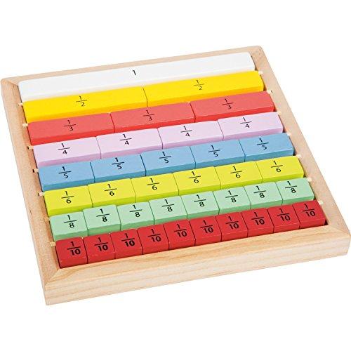Small Foot Company- Educate Barritas de Madera para Aprender a calcular adecuadas para niños, Practicar Las fracciones Juguetes, Multicolor (small foot by Legler 11166) , color/modelo surtido