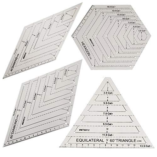 Quilten Patchwork Lineal, 4 Stück durchsichtigen Kunststoff Quilten quadratische Vorlage, Dreieck & Sechseck Quilten Lineal Set, 45 Grad & 60 Grad Lineal, Nähen Handwerk Zubehör