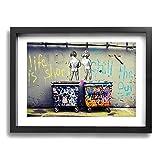 Steven Robert バンクシー アートパネル アート ポスター 壁掛けアート アートフレーム モダン アートボード インテリア 絵 絵画 部屋飾り 壁掛け 玄関 木枠セット(40*50cm) (子供 ストリート3, 30*40cm-黒)