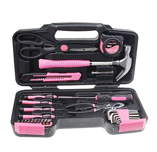 VXC Pink 39 Stück DIY Haushalt Haushaltshandwerkzeug Set Kit Box mit Hard Storage CaseRussische Föderation